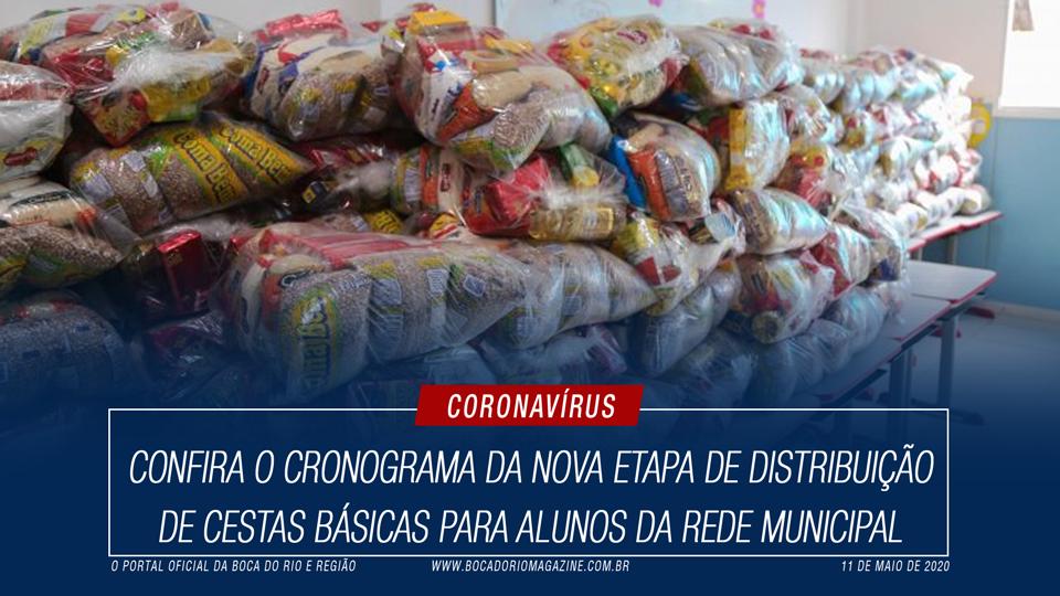 Confira o cronograma da nova etapa de distribuição de cestas básicas para alunos da Rede Municipal