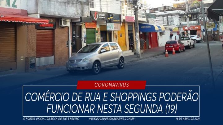 Comércio de rua e shoppings poderão funcionar nesta segunda (19)